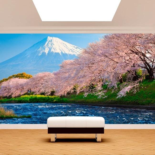 Fotomurales Monte Fuji Árboles Flor De Cerezo