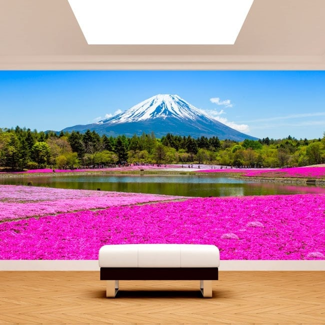 Fotomurales Jardines Flores Rosas Monte Fuji