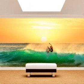 Fotomural Surfeando Al Atardecer