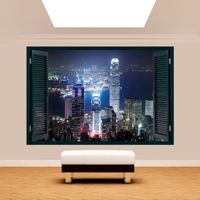 Ventana 3D Hong Kong Ciudad