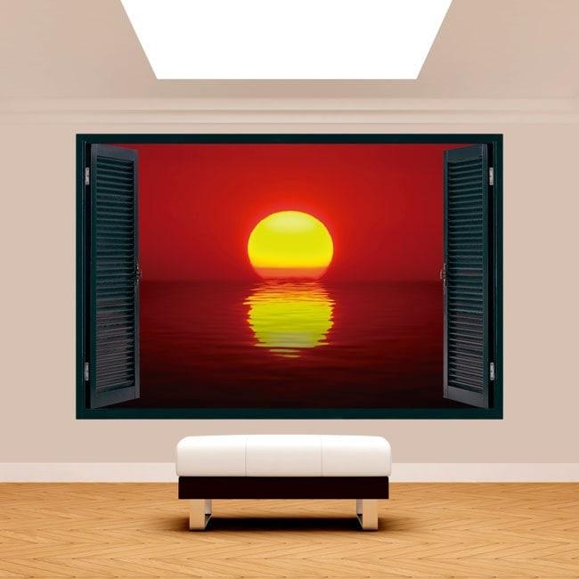 Ventanas 3D Sol Atardecer Mar