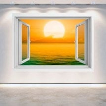 Ventanas 3D Puesta De Sol En El Mar