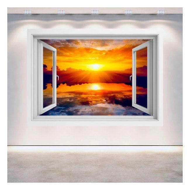 Ventana 3D Sol Atardecer Mar