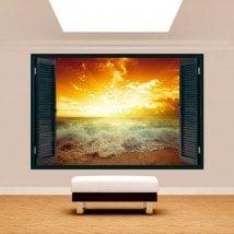 Ventana 3D Sol Atardecer Playa