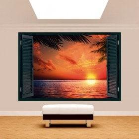 Ventanas 3D Sol Atardecer Playa