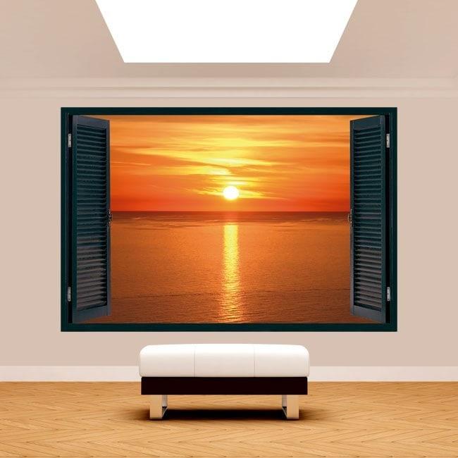 Ventana 3D Puesta De Sol En El Mar