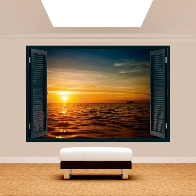 Ventanas 3D Puesta De Sol Mar