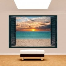 Ventanas 3D Puesta De Sol En La Playa