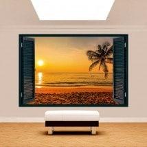 Ventanas 3D Palmera Atardecer Playa
