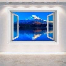 Ventana 3D Pared Monte Fuji