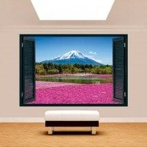 Ventanas 3D Jardines Flores Rosas Monte Fuji
