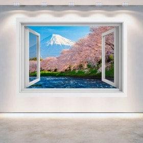 Ventanas 3D Monte Fuji Árboles Flor De Cerezo