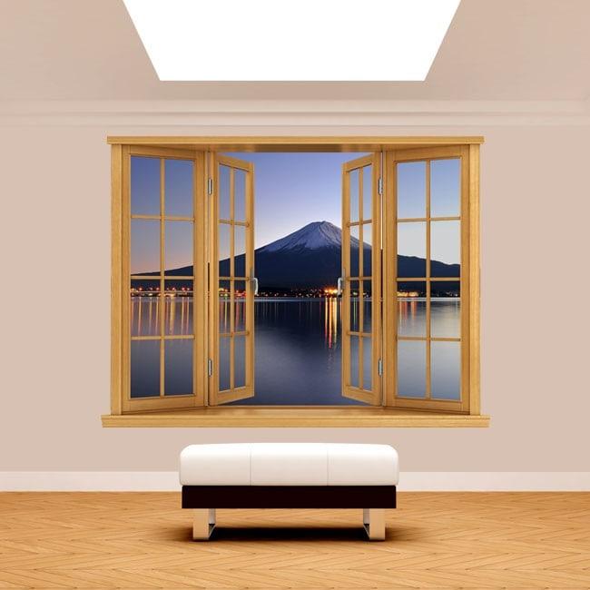 Ventana 3D Monte Fuji Kawaguchi Lago