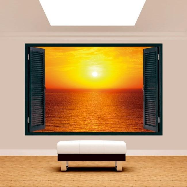 Ventanas 3D Sol Atardecer En El Mar