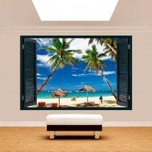 Ventana 3D Palmeras En La Playa