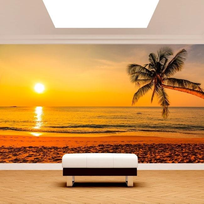 Fotomurales palmera atardecer playa