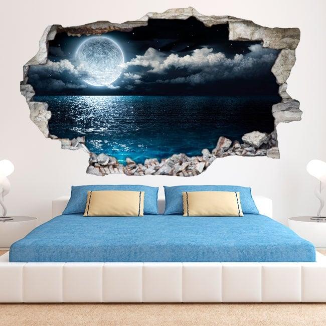 vinilos 3d luna y mar. Black Bedroom Furniture Sets. Home Design Ideas