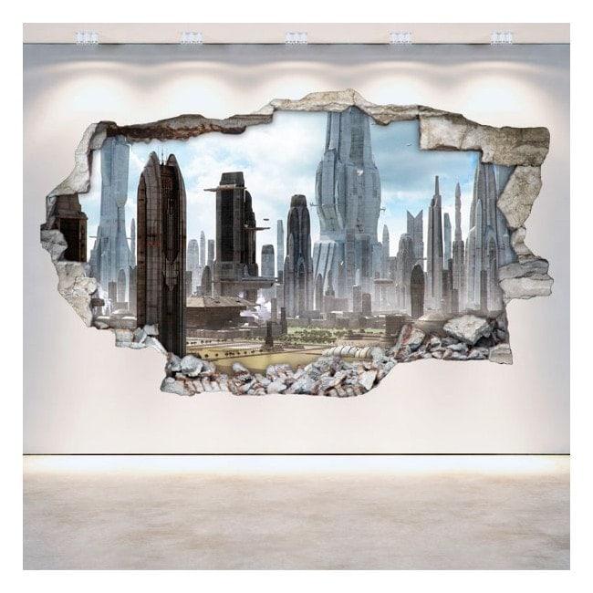 Pared Rota Vinilos 3D Ciudad Del Futuro Scifi