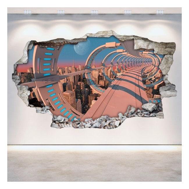 Vinilos 3D Pared Rota Ciencia Ficción