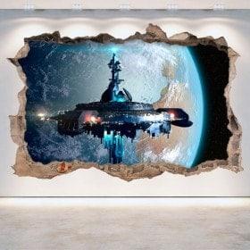 Vinilo 3D Agujero Pared Nave Espacial Ciencia Ficción Scifi