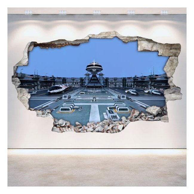 Pared Rota Vinilos 3D Naves Espaciales Ciencia Ficción