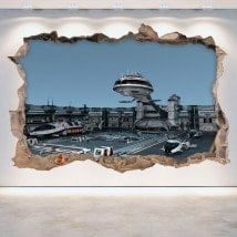 Pared Rota Vinilos 3D Naves Espaciales