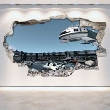 Vinilos 3D Pared Rota Estación Espacial Scifi