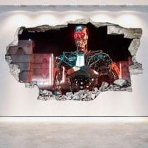 Vinilos Pared Rota 3D Terminator Génesis