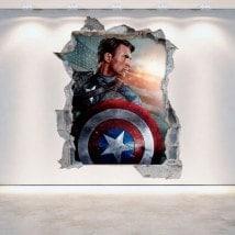Vinilos Capitán América Pared Rota 3D
