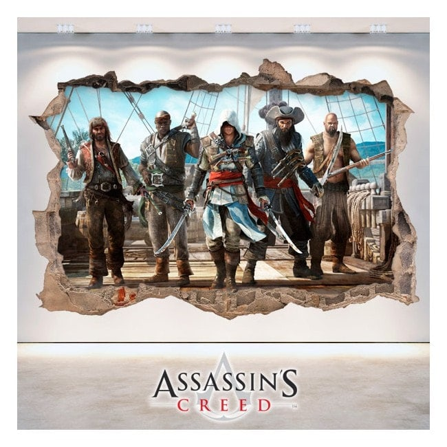 Vinilos 3D Agujero Pared Assassin's Creed
