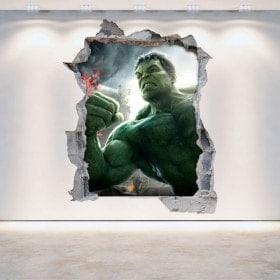 Vinilos 3D Pared Rota Hulk