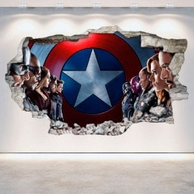 Vinilos 3D Capitán América Pared Rota