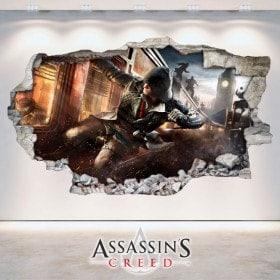 Vinilos Pared Rota 3D Assassin's Creed
