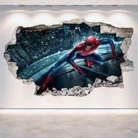 Vinilos 3D Pared Rota Spiderman