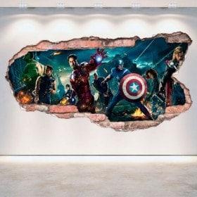 Vinilos Pared Rota 3D Capitán América