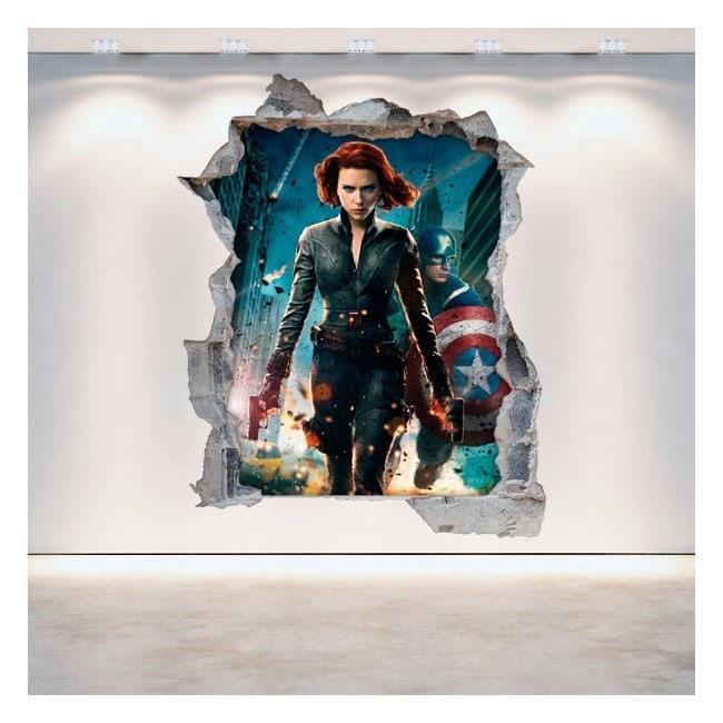 Vinilos 3D Pared Rota Capitán América
