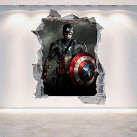 Vinilos Pared Rota Capitán América 3D