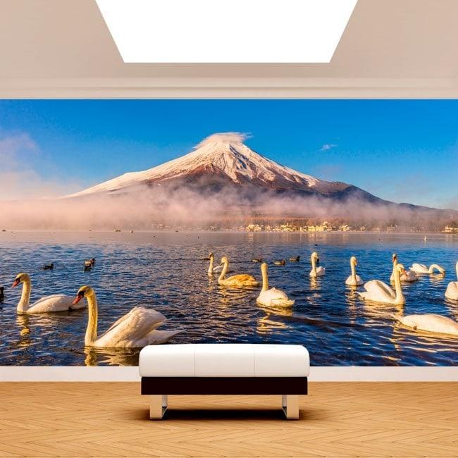 Fotomurales Cisnes Lago Kawaguchi Monte Fuji