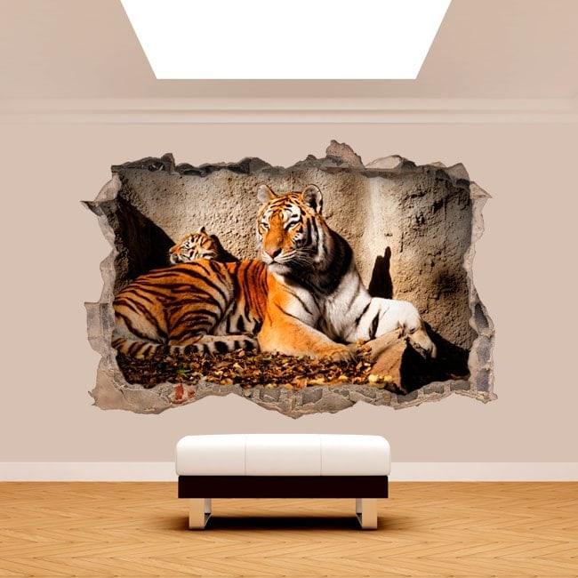 Vinilos pared rota 3d tigre for Vinilos decorativos pared 3d