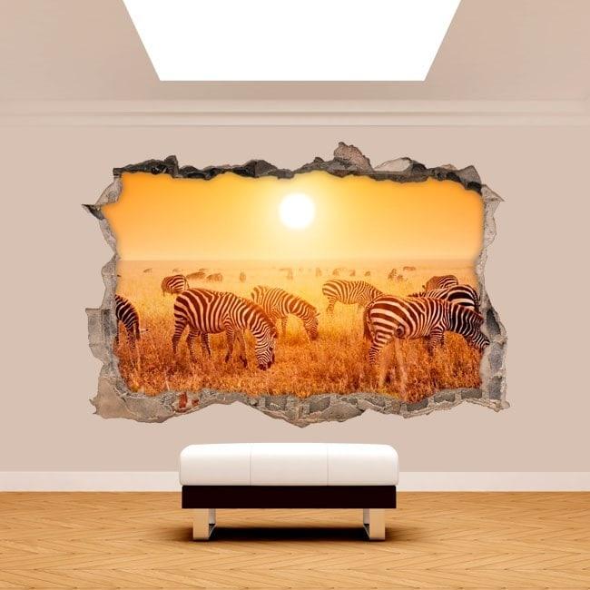 Vinilos Pared Rota 3D Cebras África