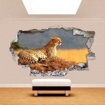 Vinilos Pared Rota 3D Leopardo África