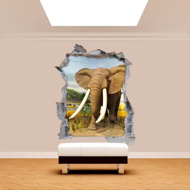 Vinilos Pared Rota 3D Elefantes África