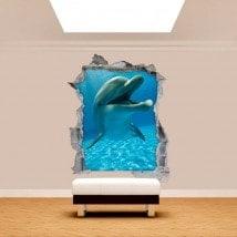Vinilos Pared Rota Delfines 3D