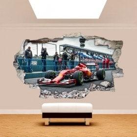 Vinilos 3D Pared Rota Coches Fórmula 1