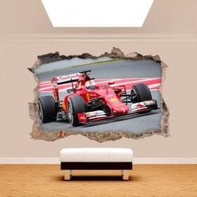 Vinilos 3D Agujero Pared Fórmula 1