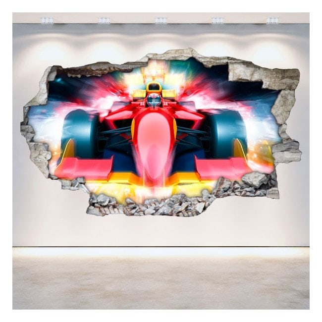 Vinilos Fórmula 1 Pared Rota 3D