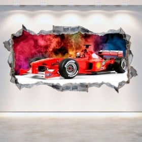 Vinilos 3D Fórmula 1 Agujero Pared