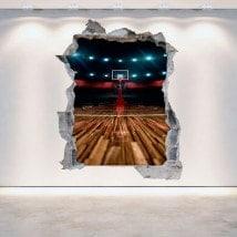 Vinilos 3D Cancha De Basketball