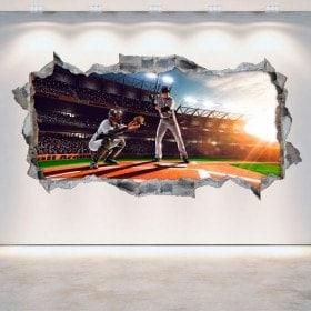Vinilos 3D Pared Rota Béisbol