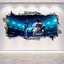 Vinilos Agujero Pared 3D Béisbol